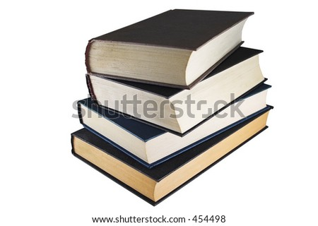 A dusty pile of very old books - stock photo