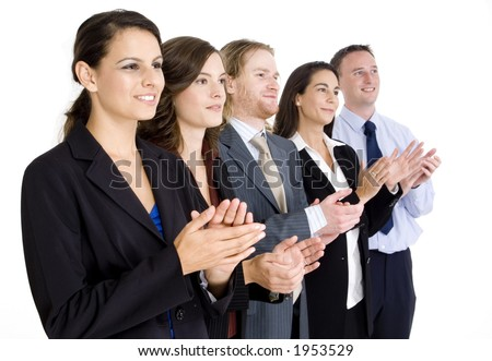 A dynamic business team applauding their success on white background