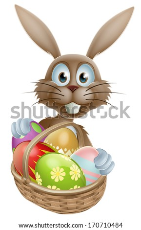 A Easter bunny rabbit with a basket of painted Easter eggs - stock photo