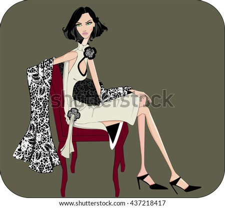 A elegant girl sitting in a dress and shawl design