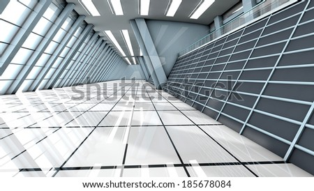 A empty airport. Architecture visualization. 3d illustration. - stock photo