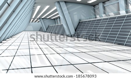 A empty airport. Architecture visualization. 3d illustration.