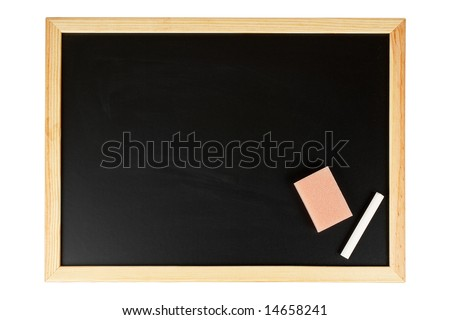 A empty black chalkboard with chalk and eraser. Isolated on white background