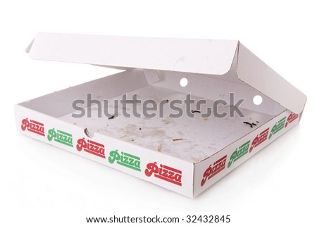 A empty pizza box isolated on white - stock photo
