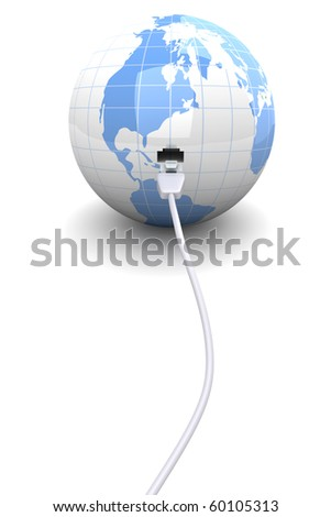 A ethernet connected globe. 3D rendered Illustration. - stock photo