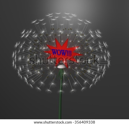 a exploding dandelion with red label - stock photo