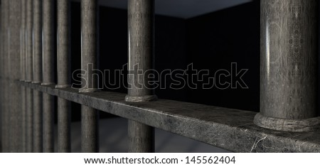 A extreme closeup view of a prison holding cell bars with welds - stock photo