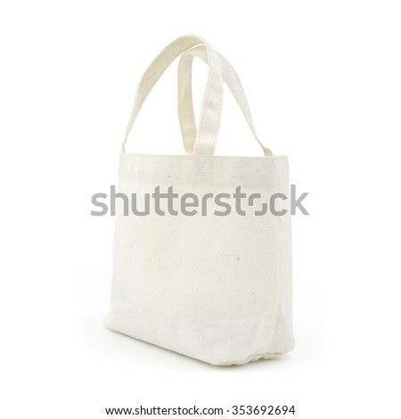 A fabric bag on white. (Included clipping PATH) - stock photo