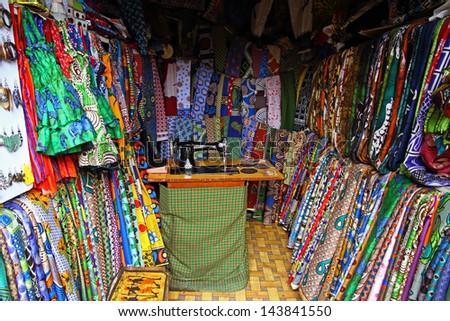A Fabric/Textile shop in Arusha, Tanzania, Africa - stock photo