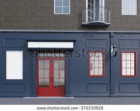 A facade of a house with a small cafe on the ground floor. A blank poster to the left and two windows to the right of a red door. Front view. Concept of a city cafe. 3D rendering.