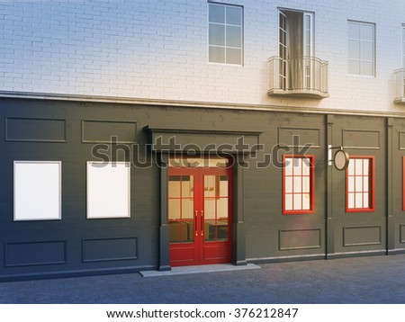 A facade of a house with a small cafe on the ground floor. Two blank posters to the left and two windows to the right of a red door. Side view. Filter. Concept of a city cafe. 3D rendering.