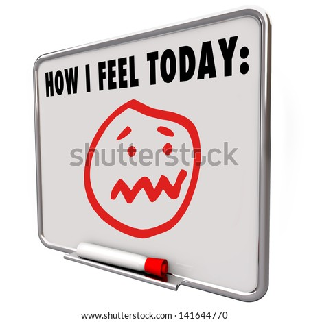 A face with a stressed, overworked, sad, angry, frazzled, confused or puzzled face to illustrate being overloaded with work, on a dry erase board with the words How I Feel Today - stock photo
