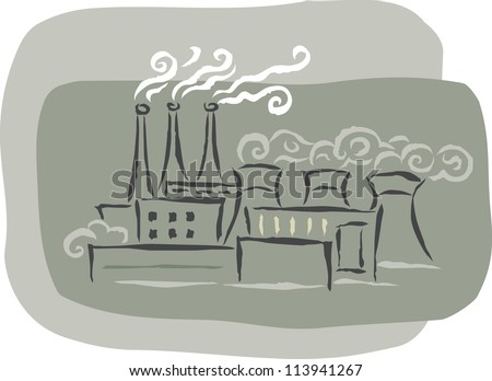 A factory with smoke stacks emitting fumes