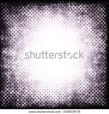 A faded grunge background in dirty red and black on white with halftone effect and copy space - stock photo
