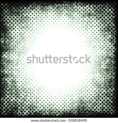 A faded grunge background in green and black on white with halftone effect and copy space - stock photo