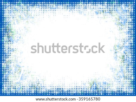 A faded grunge frame background in blue on white with halftone effect and copy space - stock photo
