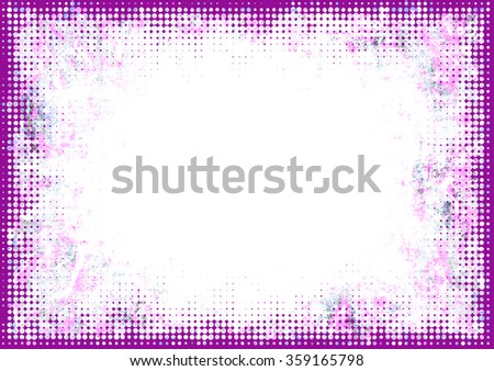A faded grunge frame background in pink on white with halftone effect and copy space - stock photo