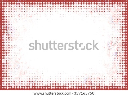 A faded grunge frame background in red on white with halftone effect and copy space - stock photo