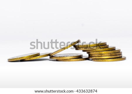 A Failed Stairway that made from leaned Golden Coins, Money on a White Background (Isolated Photo)
