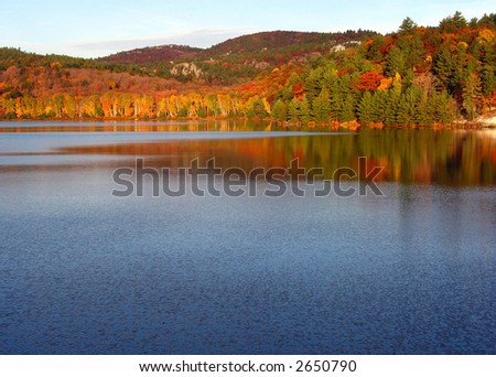A fall morning in Killarney Provincial Park at George Lake - stock photo
