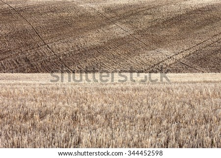 A fallow field of wheat stubble set aside as part of a crop rotation program on a farm. - stock photo