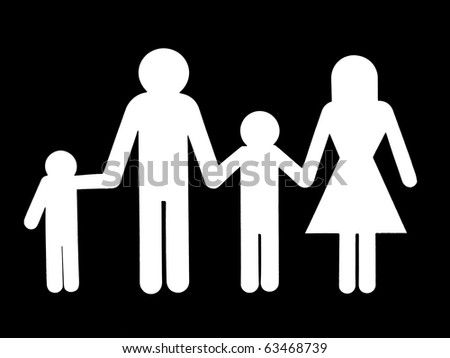 A family cutout figurine isolated against a white background