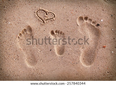 a family footprints in the sand on the seashore  - stock photo