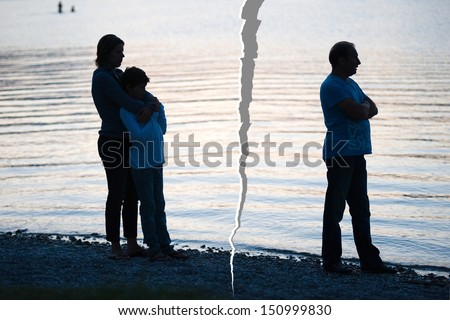 A family is split up after a divorce - stock photo