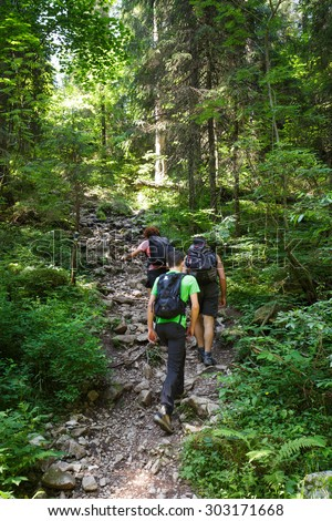 A family of hikers going uphill on a steep trail in the forest - stock photo