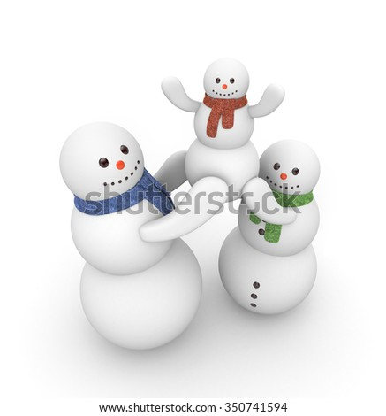 A family of snowmen - stock photo