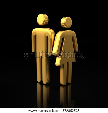 A family of two people, a couple. The concept of a small family. Common interests of men and women. Gold symbols of man and woman side by side on a black background. 3D illustration image - stock photo