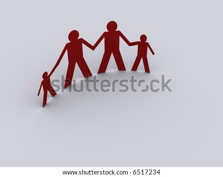 A family people symbol - rendered in 3d