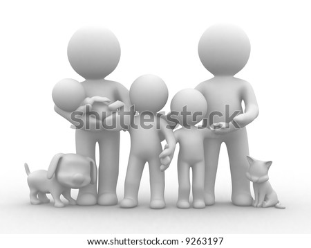a family photo with cat and dog - stock photo