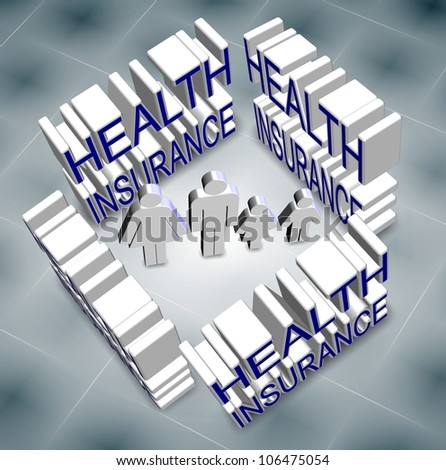 a family surrounded and protected by health insurance / family health insurance - stock photo