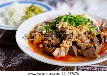 A famous food of Northern of Thailand (Nam ngiao)