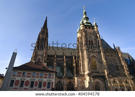 A famous historic St. Vitus Cathedral in prague czech republic - stock photo
