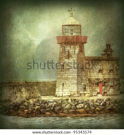 a famous lighthouse in a small harbor near Dublin. Illustration from a shoot of mine like an old engraving with grunge effects.