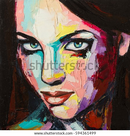 A Fantasy Woman Colorful Portrait In Abstract And Pop Art Styles Oil Painting On Canvas