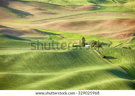 A farm and farmhouse in the middle of the Palouse area of Washington State showcase the rolling hills covered with wheat and grain fields.