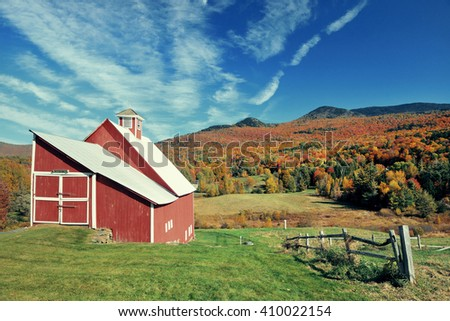 A farm house and Autumn foliage in New England - stock photo
