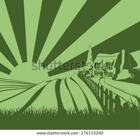 A farm house thatched cottage in an idyllic landscape of rolling hills and sunrise in the background - stock photo
