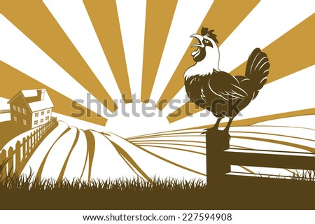 A farm with farmhouse in the distance and a rooster or cockerel crowing on a fence post at dawn - stock photo