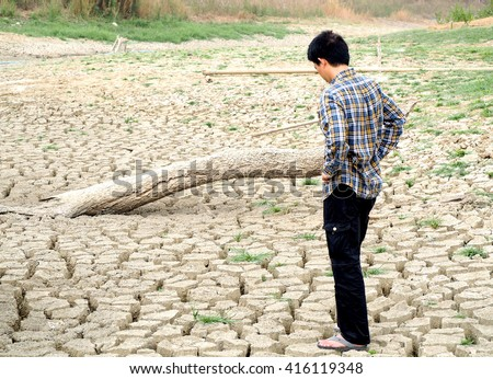 A farmer is worried about drought and a lack of water for cultivation