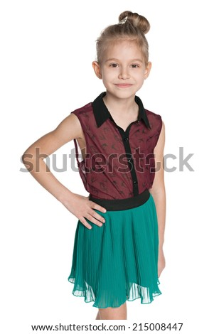 A fashion little girl against the white background