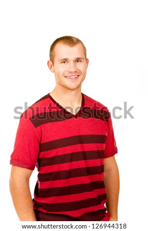 A fashion portrait of a guy in the studio against a white isolated background.