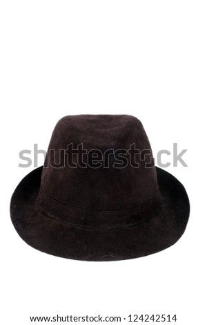 a fashionable black velvet hat isolated on white background - stock photo