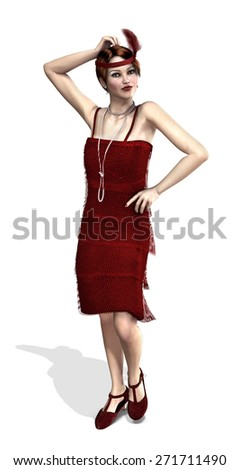 A fashionable flapper girl from the 1920's - 3d render. - stock photo