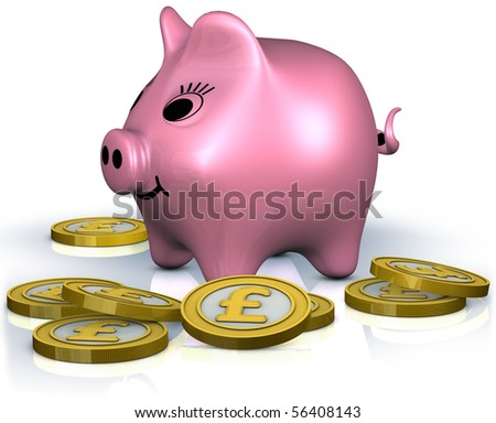 A fat smiley piggy bank standing in the center of pound coins - stock photo