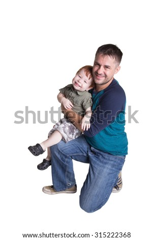 A father and his son isolated on white