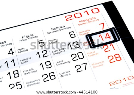 A February calendar showing the 14th prominently